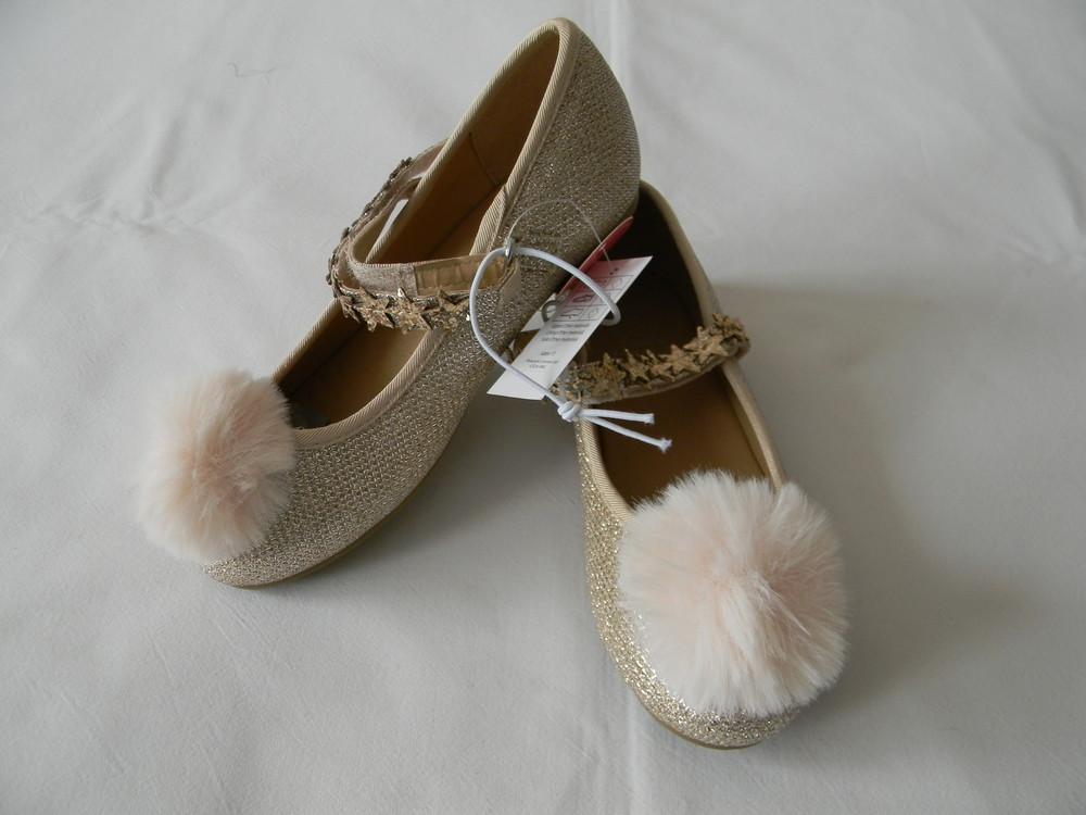 Золотые туфли с помпоном evie angel р.27(9)  фото №1