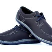40 р Мужские туфли мокасины синего цвета (КМ-30с)