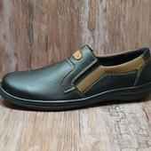 Туфли на резинке, мужские мокасины с прошивкой (Т10-2)