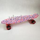 Детский скейт скейтборд пенни красный флаг Profi MS 1284-10