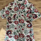 Яркая рубашка, блуза в цветочный принт S-M-L