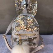 Рюкзак для девочек с паетками перевертышами.Уши.