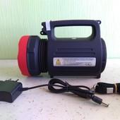 Мощный, светодиодный, универсальный фонарик, фонарь-прожектор плюс power bank