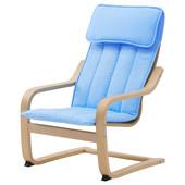 Кресло детское - березовый шпон/алмос голубой 102.993.92 Poäng, Поэнг Икеа Ikea В наличии