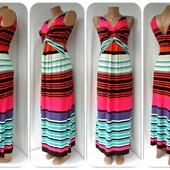 Новое.Яркое брендовое длинное платье в полоску Next.Размер uk12(M).