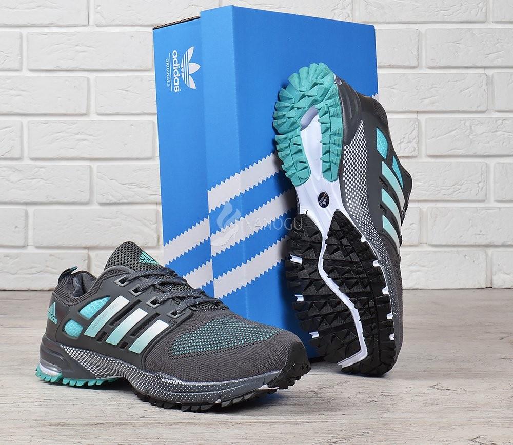 6b9761f5 Кроссовки мужские adidas marathon tr 21 текстильные серые с зеленым фото №1