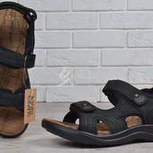 Мужские спортивные кожаные сандалии на липучках Super Gear Венгрия черные
