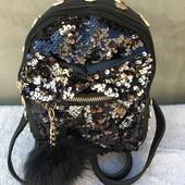 Черный рюкзак с паетками для девченок.