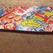 Скейт графитти оранжевый 55 см, светятся колеса