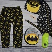 3 - 4 года 104 см фирменные мягкие пижамные штаны треники домашние флисовые Бэтмен Batman Rebel