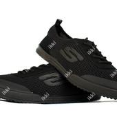 41 и 45 р Мужские кроссовки - кеды летние черного цвета (ПР-3202ч)