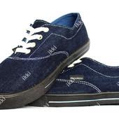 Мужские джинсовые мокасины синего цвета (ПР-2805д)