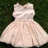 Нежная персиковая юбка и блузка. Мама дочка, Family Look, Фемили Лук