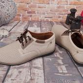 Стильные мужские мокасины на шнурках  Натуральная кожа