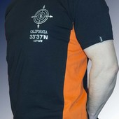 Футболка мужская комбинированная из хлопка с накаткой .