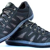 Мужские кроссовки черные с серой сеткой (КС-32чср)