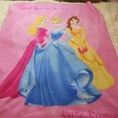 Фирменное флисовое детское одеяло / флисовый плед Принцессы 127 *155 см