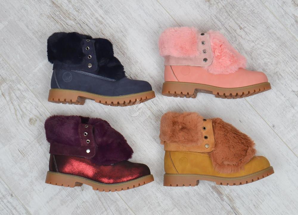 Ботинки  waterproof натуральная опушка женские зимние на шнуровке синие бордовые розовые желтые фото №1