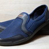 Летние мужские мокасины сеточка - синие (БЛ-08с)