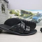 Шлепанцы мужские кожаные Bonis black