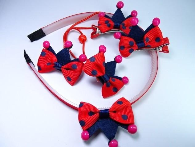 Набор украшений для волос корона красные с синим /обруч/резинки/заколки фото №1
