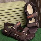 Удобные легкие мужские сандалии коричневого цвета