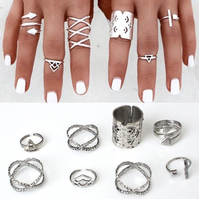 Набор 8 колец античное серебро кольцо. фото №1