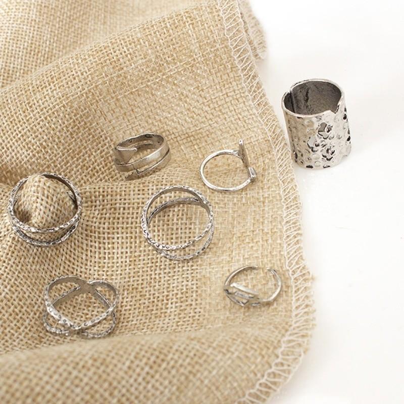Набор 8 колец античное серебро кольцо. фото №2