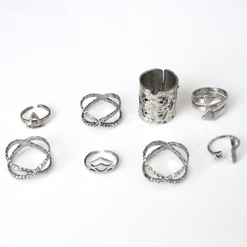Набор 8 колец античное серебро кольцо. фото №3