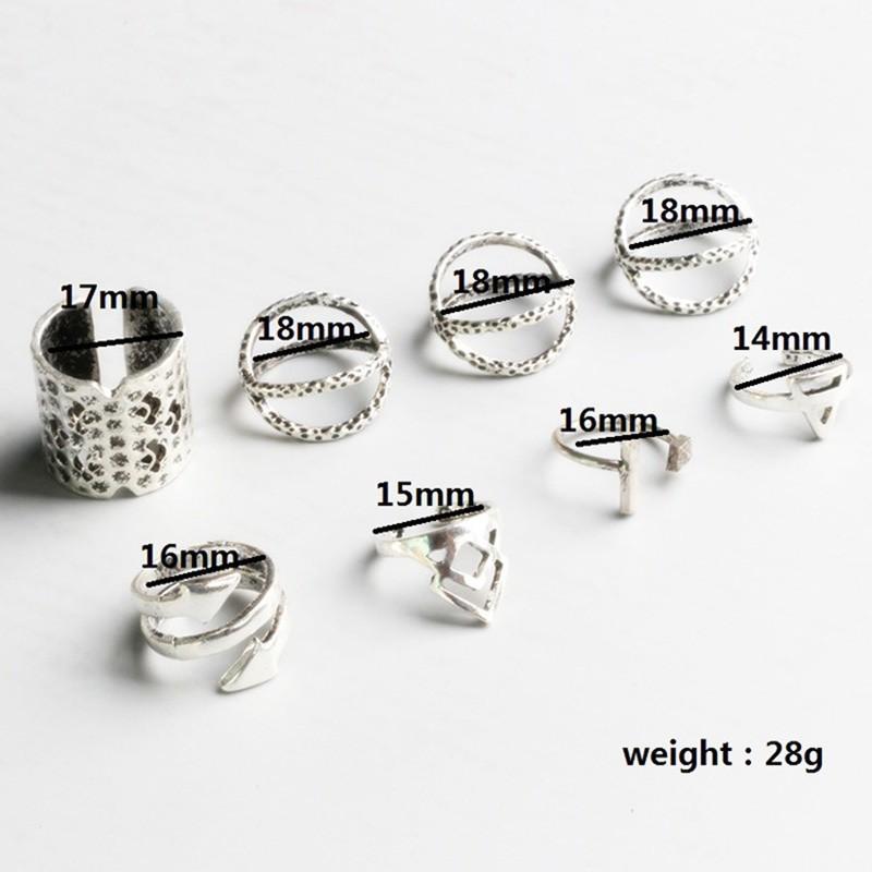 Набор 8 колец античное серебро кольцо. фото №4