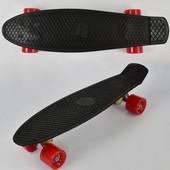 Скейт 7807 черный, без света, доска 55см, колёса PU d 6см