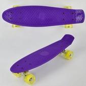 Скейт 0720 свет, фиолетовый, доска 55см, колёса PU d 6см