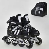 Ролики 9031 M Best Roller размер 35-38 цвет чёрный колёса PU, переднее колесо свет, в сумке