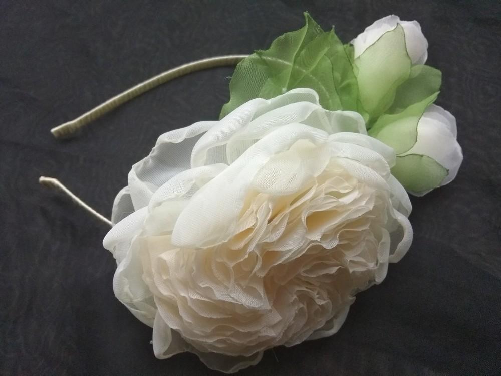 """Обруч """"английская роза"""" ,  ободок,  веночек,  цветы из шифона фото №1"""