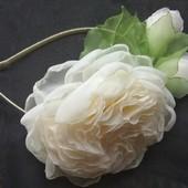 """Обруч """"Английская роза"""" ,  ободок,  веночек,  цветы из шифона"""