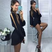Черный модный комбинезон