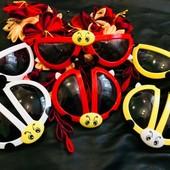 Складные солнцезащитные очки в форме божья коровка. Красные, белые, желтые