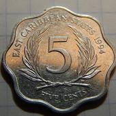 Монета. Карибские Острова. 5 центов 1994 года.