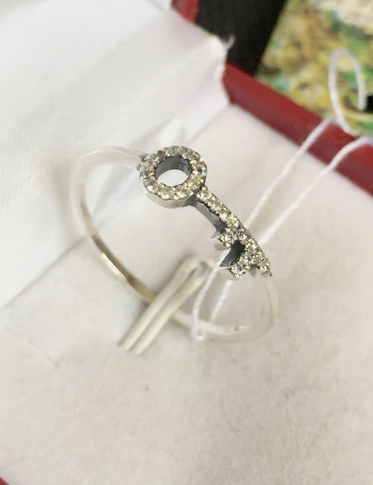 Новое серебряное кольцо ключик куб.цирконий чернение серебро 925 пробы фото №1