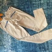 Отпадные супер-стильные мужские джинсы - брюки деним с кожаными ремешками и вставками, р. XS/S)
