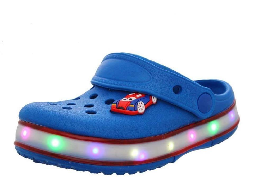 Кроксы с подсветкой led шалунишка, ярко-синий (р.24-29) фото №1