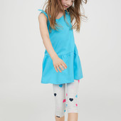 Лосины длина 3-4 для девочки H&M серые в сердечки