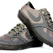 Летние мужские туфли-мокасины серого цвета (СГЛ-5-1ср)