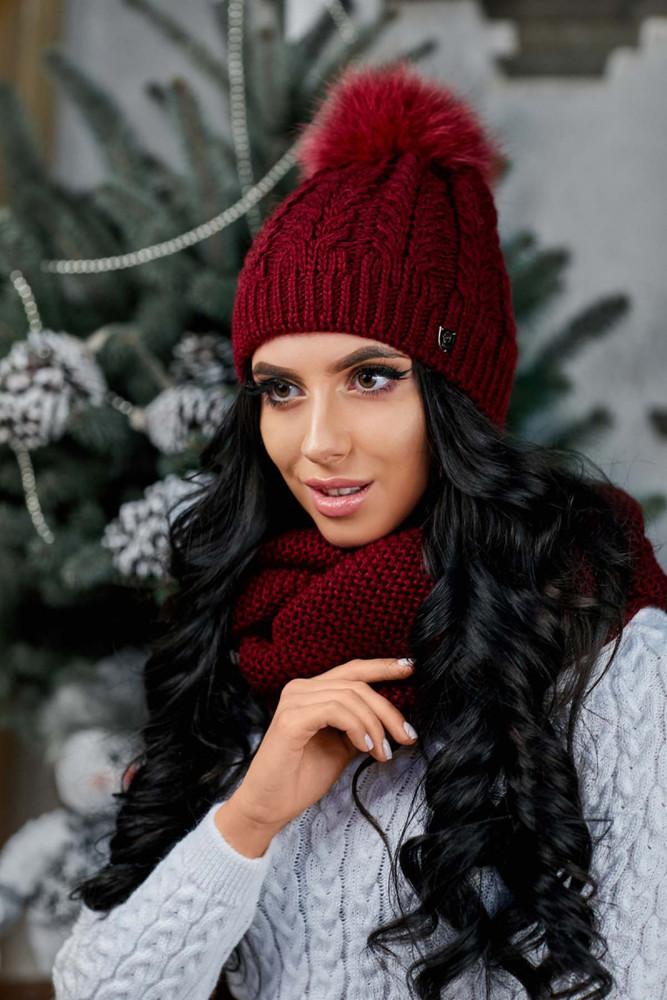 Женская бордовая шапка+снуд фото №1