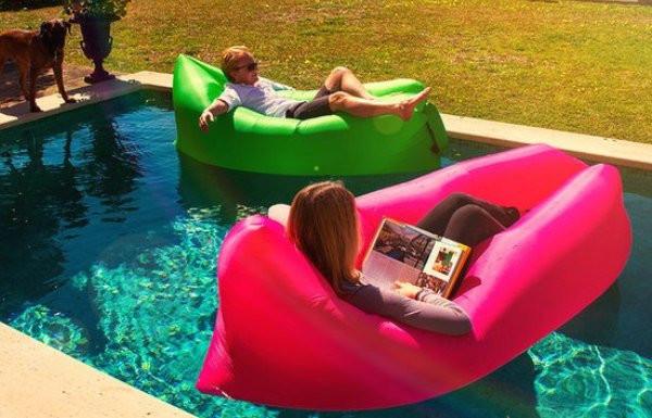 Надувной лежак кресло мешок Ламзак (Lamzak). Розовый фото №1