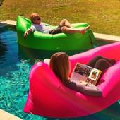 Надувной лежак кресло мешок Ламзак (Lamzak). Розовый