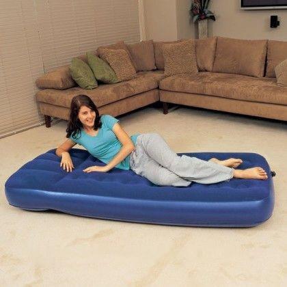 Надувной одноместный матрас Bestway 67224 синий, со встроенным ножным насосом, 188 х 99 х 22 см фото №1