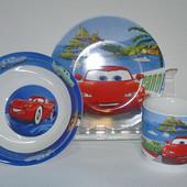 Набор из 3 предметов детская фарфоровая посуда Молния Маквин Тачки