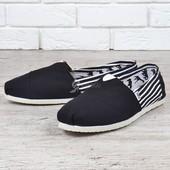 Эспадрильи мужские слипоны Toms Classic Deep Black White черные с полосками