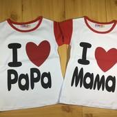 Детская футболка для девочки рр. 80-128 я люблю маму / папу Beebaby (Бибеби)